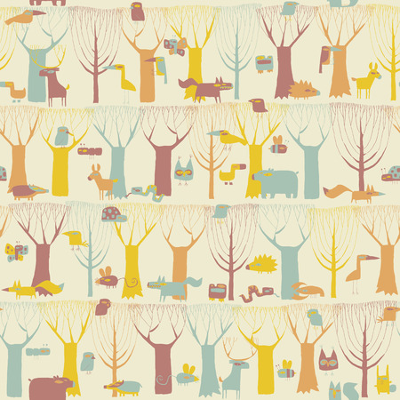 Woodland Animals seamless pattern in four colors is hand drawn grunge illustration of forest animals. Illustration is in eps8 vector mode, background on separate layer.  Vector