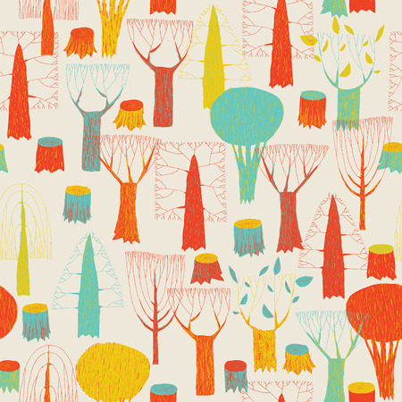 Trees seamless pattern tapestry in pop-colors is hand drawn grunge illustration of woodland. Illustration is in eps8 vector mode, background on separate layer.  Illustration