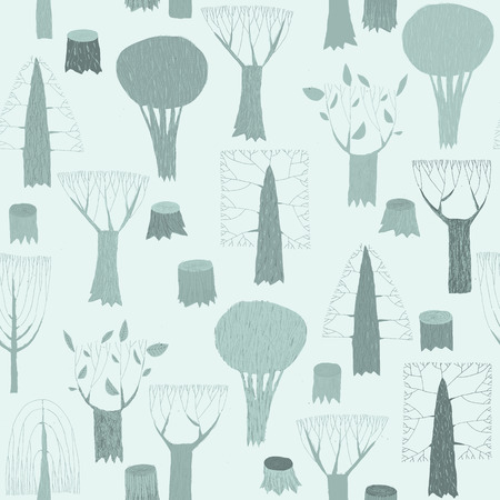 willow tree: Trees seamless pattern tapestry in blue is hand drawn grunge illustration of woodland. Illustration is in eps8 vector mode, background on separate layer.
