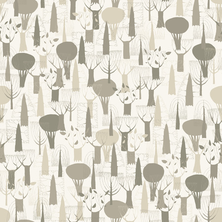 Trees seamless pattern tapestry in grey is hand drawn grunge illustration of woodland. Illustration is in eps8 vector mode, background on separate layer.  Vector