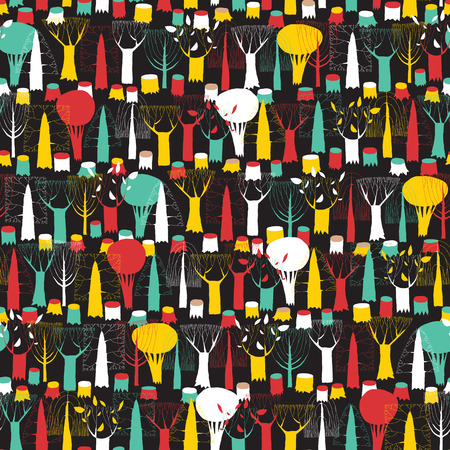 Trees seamless pattern tapestry in colors is hand drawn grunge illustration of woodland. Illustration is in eps8 vector mode, background on separate layer.  Vector