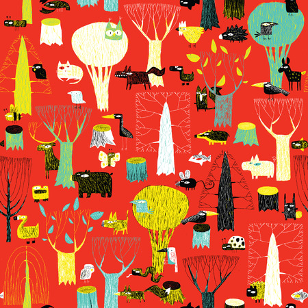 naive: Wood Animals tapestry seamless pattern in pop colors is hand drawn grunge illustration of forest animals. Illustration is in eps8 vector mode, background on separate layer.