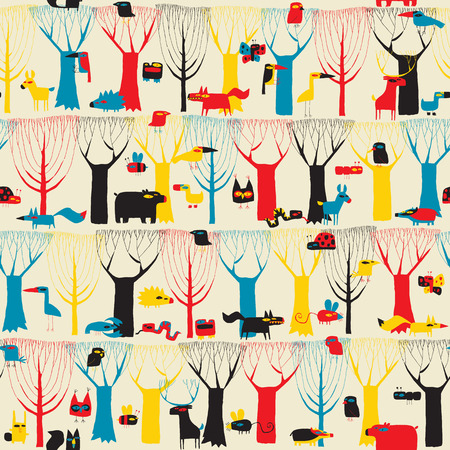 Wood Animals tapestry seamless pattern in modernistic colors is hand drawn grunge illustration of forest animals. Illustration is in eps8 vector mode, background on separate layer.  Vector