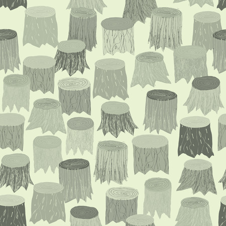 timber cutting: Tree Stump seamless pattern tapestry in grey is hand drawn grunge illustration of woodland. Illustration is in eps8 vector mode, background on separate layer.