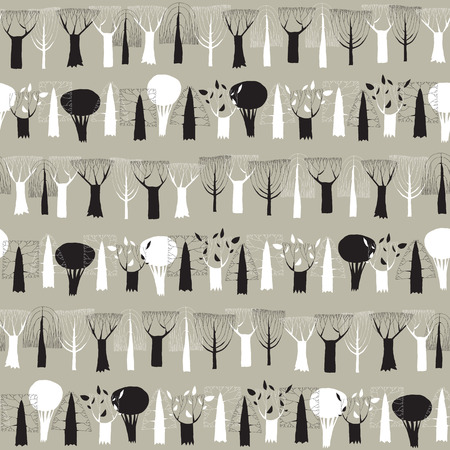 naive: Trees seamless row pattern tapestry in black and white is hand drawn grunge illustration of woodland. Illustration is in eps8 vector mode, background on separate layer.