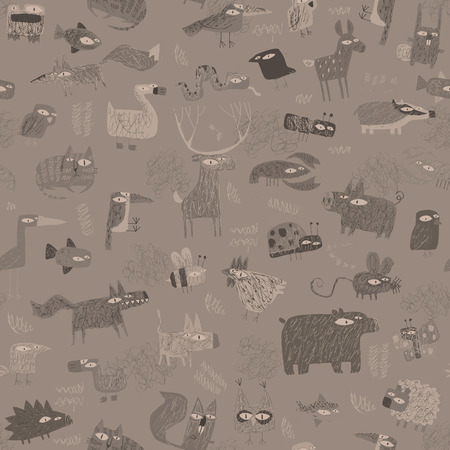 Animals tapestry seamless pattern in grey is hand drawn grunge illustration of animals. Illustration is in eps8 vector mode, background on separate layer.  Vector