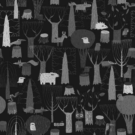 Wood Animals tapestry seamless pattern in grey is hand drawn grunge illustration of forest animals. Illustration is in eps8 vector mode, background on separate layer.  Vector