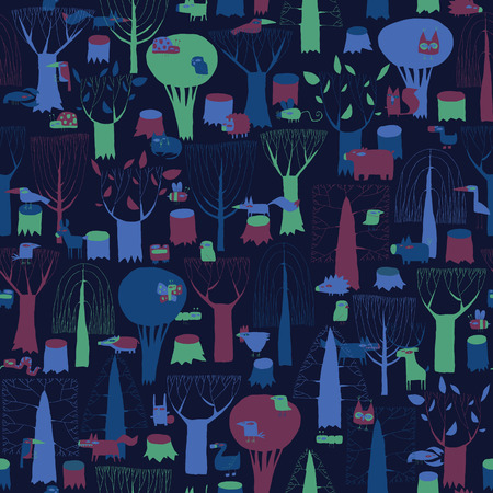 Wood Animals tapestry seamless pattern in dark colors is hand drawn grunge illustration of forest animals. Illustration is in eps8 vector mode, background on separate layer.  Vector