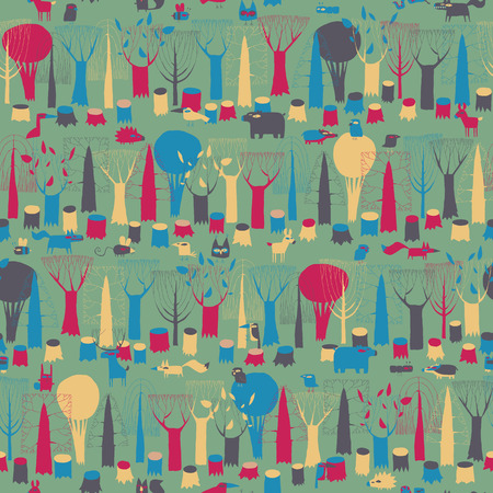 Wood Animals tapestry seamless pattern in magic colors is hand drawn grunge illustration of forest animals. Illustration is in eps8 vector mode, background on separate layer.  Vector
