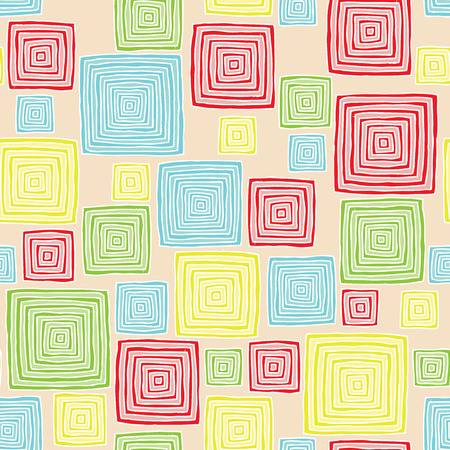 Squares seamless pattern in colors is hand drawn composition.  Vector