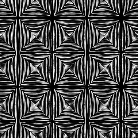Square spiral seamless pattern is hand drawn composition.  Vector