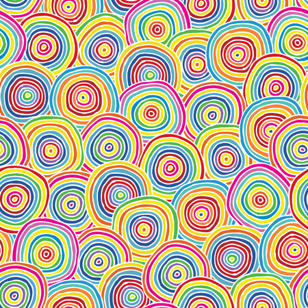 Targets seamless pattern in colors is hand drawn composition.  Vector