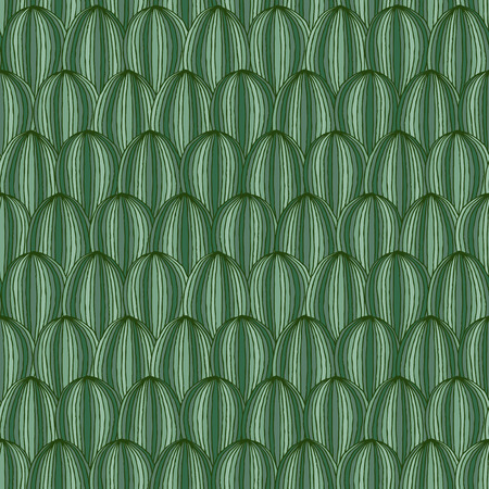 Watermelon seamless pattern in green colors is hand drawn composition. Vector