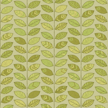 Leaves seamless pattern in colors is hand drawn composition.  Vector