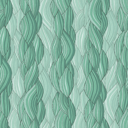 wild hair: Hair braid seamless pattern in colors is hand drawn nature-like composition.