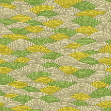 Landscape seamless pattern in colors is hand drawn nature-like composition. Vector