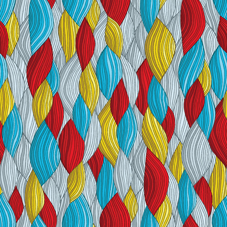 Funky waves seamless pattern in colors is hand drawn nature-like composition. Vector
