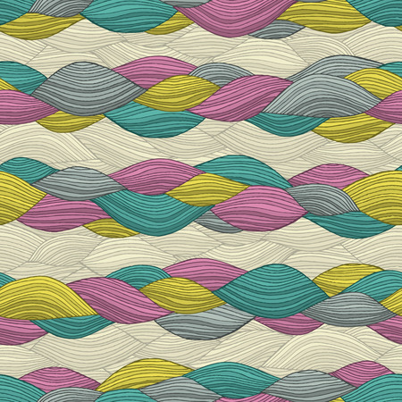 Funky Hair seamless pattern in colors is hand drawn nature-like composition.  Vector