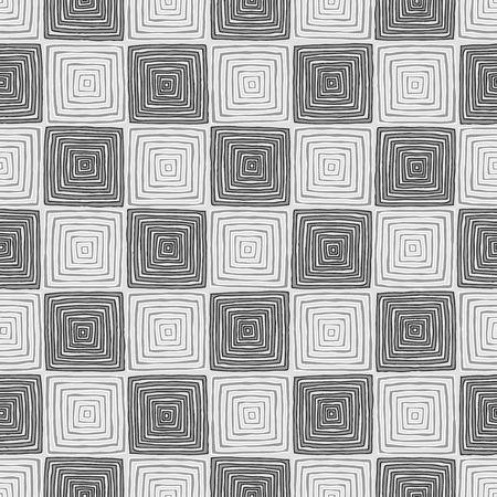 Chessboard seamless pattern in black and white is hand drawn ink illustration.  Vector