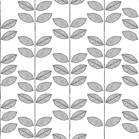 Plant seamless pattern in black and white is hand drawn ink illustration.  Vector
