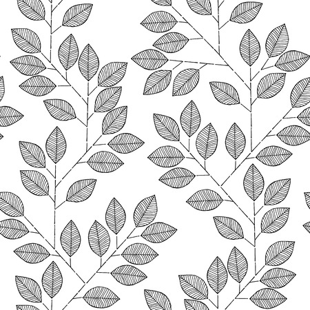 fabric samples: Tree branch seamless pattern in black and white is hand drawn ink illustration.  Illustration