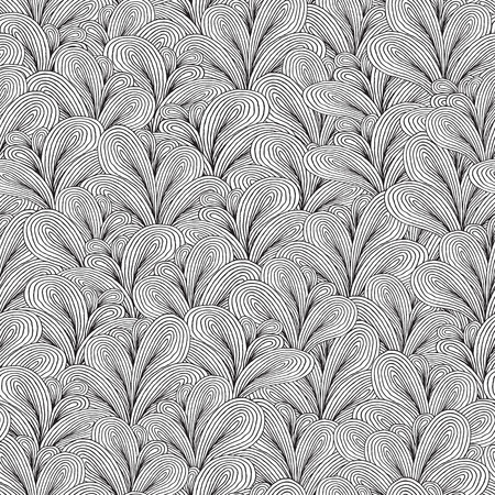 Plants seamless pattern in black and white is hand drawn ink illustration.