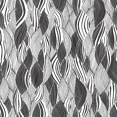 Beach seamless pattern in black and white is hand drawn ink illustration. Illustration is in eps8 vector mode, background on separate layer.  Vector