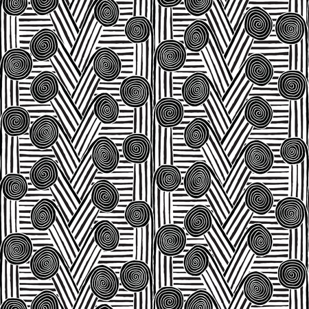 Spiral seamless pattern in black and white is hand drawn ink illustration.  Vector