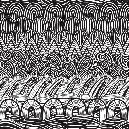 Collage seamless pattern in black and white is hand drawn ink illustration.  Vector
