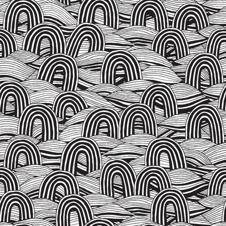 Pin seamless pattern in black and white is hand drawn ink illustration.  Vector