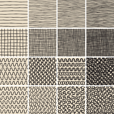 no1: Basic Doodle Seamless Pattern Set No.1 in black and white is collection of 16 simple repetitive patterns. Illustration is in eps8 vector mode, background on separate layer.  Illustration