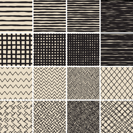 Basic Doodle Seamless Pattern Set No.2 in black and white is collection of 16 simple repetitive patterns. Illustration is in eps8 vector mode, background on separate layer.  Vector