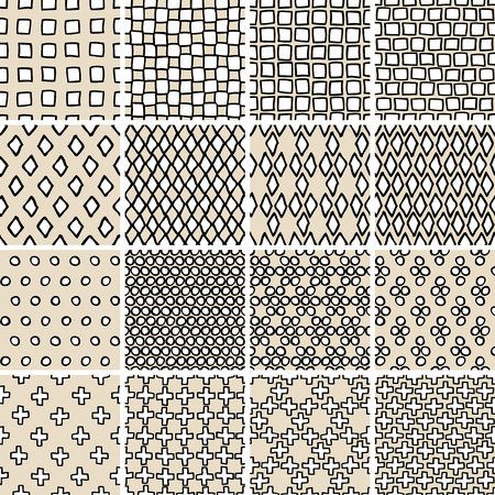 Basic Doodle Seamless Pattern Set No.3 in black and white is collection of 16 simple repetitive patterns. Illustration is in eps8 vector mode, background on separate layer. Stock Vector - 28924164