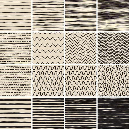 Basic Doodle Seamless Pattern Set No.6 in black and white is collection of 16 simple repetitive patterns. Illustration is in eps8 vector mode, background on separate layer.  Vector