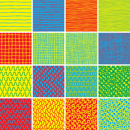 Basic Doodle Seamless Pattern Set No.1 in colors is collection of 16 simple repetitive patterns. Illustration is in eps8 vector mode, background on separate layer.  Vector