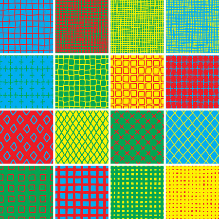 Basic Doodle Seamless Pattern Set No.7 in colors is collection of 16 simple repetitive patterns. Illustration is in eps8 vector mode, background on separate layer.  Vector