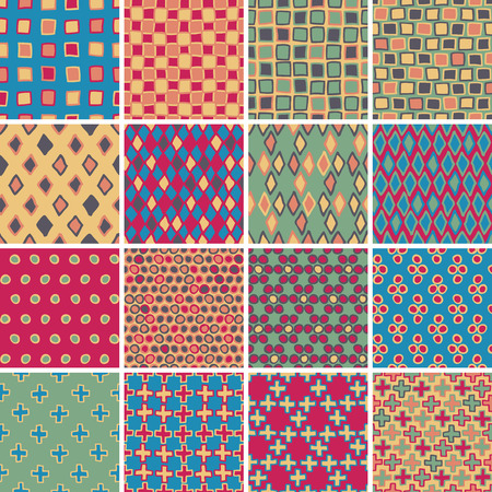 Textile seamless pattern SET No.3 of 16 different playful illustrations. Illustration is in eps8 vector mode, background on separate layer.  Vector