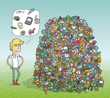 Zoek objecten visueel spel. Oplossing in de verborgen laag! Illustratie is in eps10 vector-modus en bevat transparantie-effecten. Elementen van samenstelling zijn geïsoleerd. Stock Illustratie