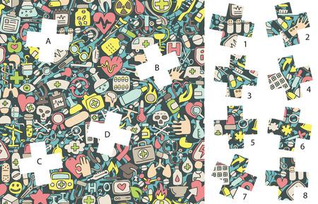 Medicine: Match pieces, visual game. Vector