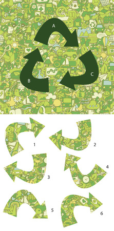 Ecology Match pieces, visual game.  Vector