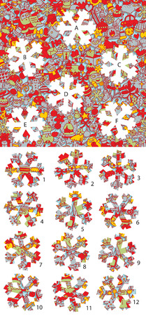 Christmas: Match pieces, visual game.  Vector