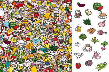 cartoon food: Find food, visual game.  Illustration