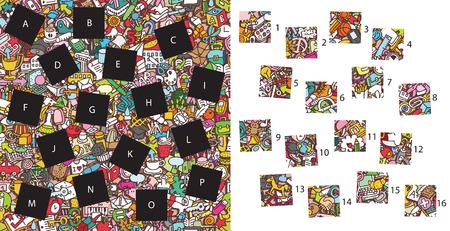 School: Match pieces, visual game. Illustration