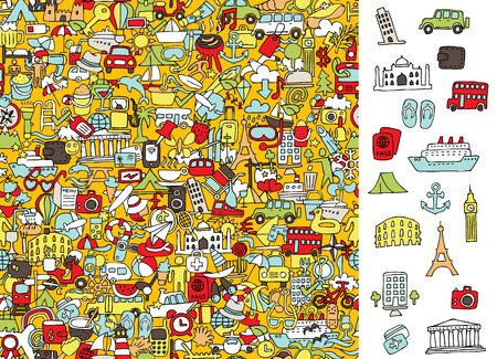quiz: Find right travel icons, visual game. Illustration