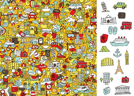 Trouver icônes de voyage droite, jeu visuel. Banque d'images - 32451078