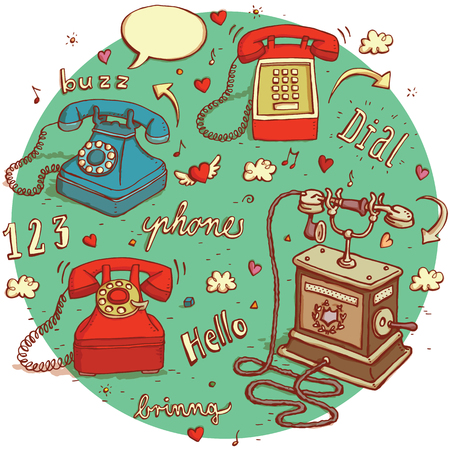 no1: Telecommunications objects No.1. Set of 4 different telephones, signs, speech bubbles etc. isolated on background.