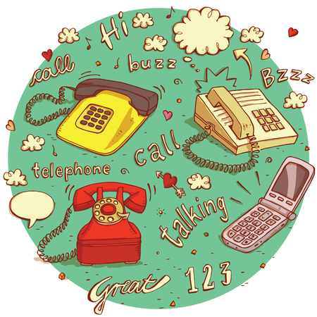 hello heart: Telecommunications objects No.6. Set of 4 different telephones, signs, speech bubbles etc. isolated on background. Illustration