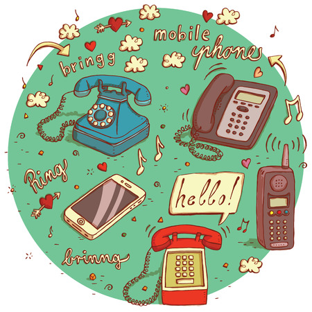 telephones: Telecommunications objects No.4. Set of 5 different telephones, signs, speech bubbles etc. isolated on background. Illustration Illustration