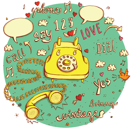 vintage telephone: Telecommunications objects No.3. Vintage telephone character, signs, speech bubbles etc. isolated on background. Illustration