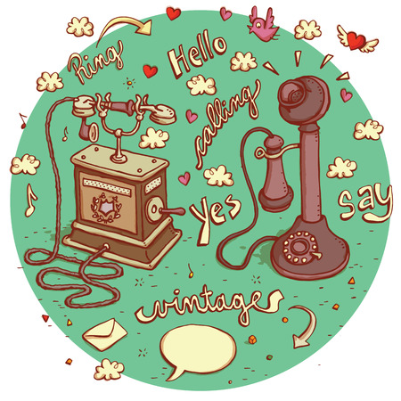 twit: Telecommunications objects No.5. Set of 2 different telephones, signs, speech bubbles etc. isolated on background. Illustration